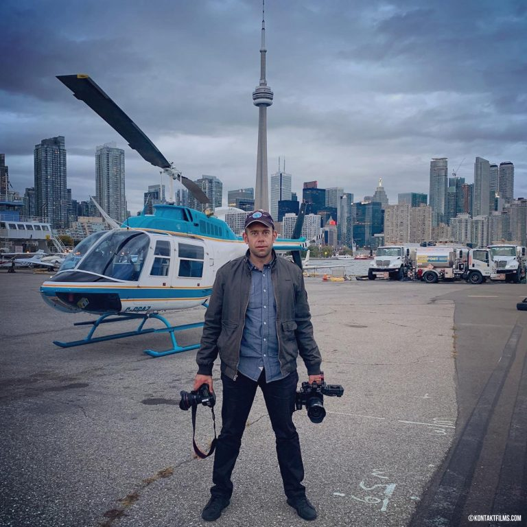 Bentley UK – Adam Bialo at Billy Bishop Airport after filming EVA1 video and Canon 5DM4 photos of the Toronto skyline for FX plates | Kontakt Films