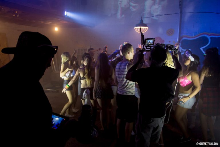 """DVBBS – Director Adam Bialo and Cinematographer Vinit Borrison filming with the Movi and Red camera for the """"Raveheart"""" music video 