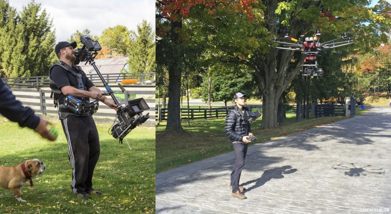 Dog Tales Rescue – Cinematographer Martin Hawkes using the Red camera on Steadicam and Pilot Chris Bacik flying Drone for the DTR TV spot | Kontakt Films