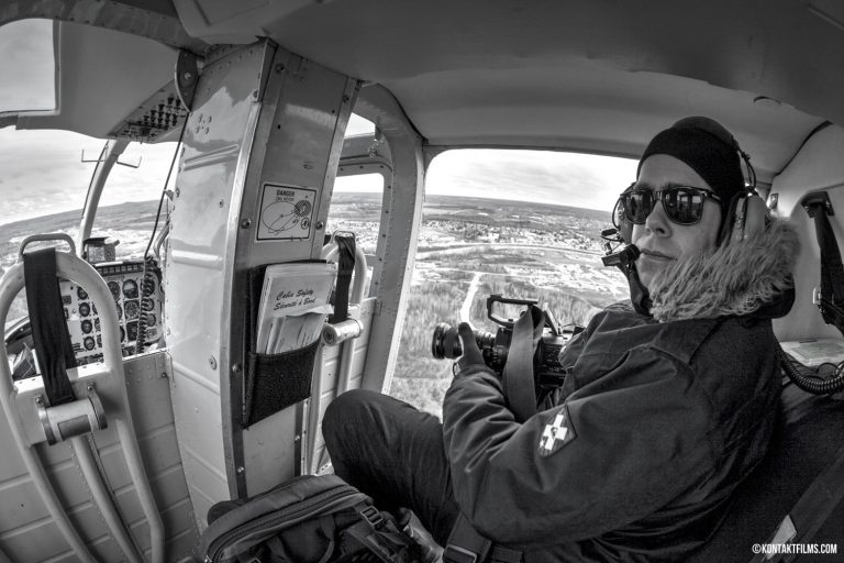 Echo Bay Media – Adam Bialo filming from the helicopter for our friends at Echo Bay and their client Goldcorp in Timmins Ontario | Kontakt Films