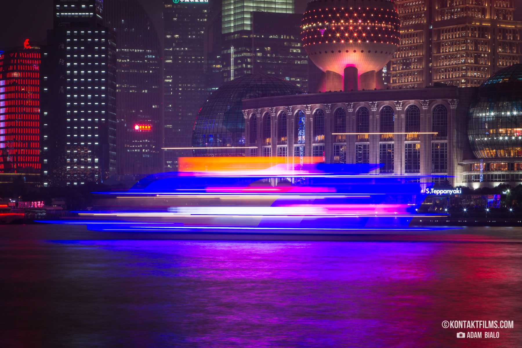 Huangpu River boat neon oriental pearl tower bund district shanghai china kontakt films adam bialo